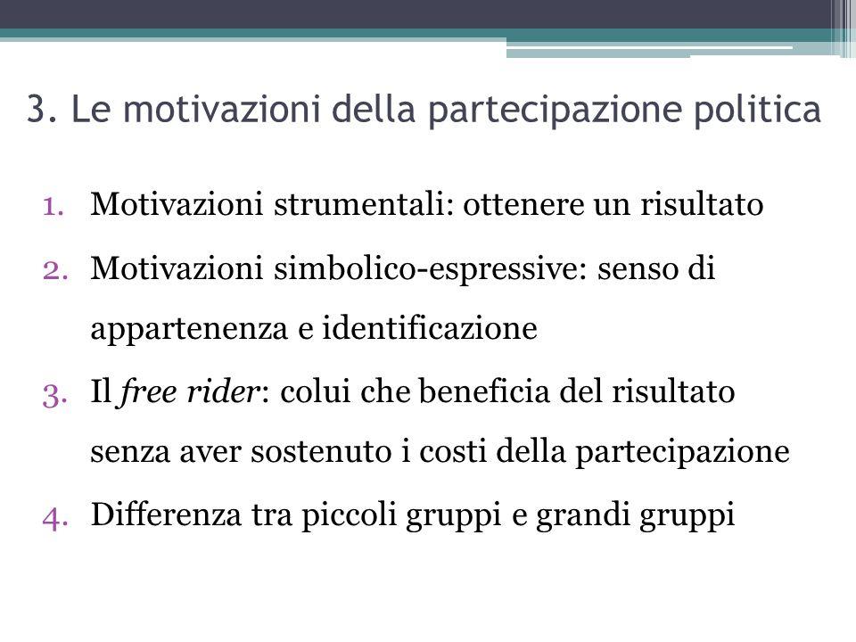 3. Le motivazioni della partecipazione politica 1.Motivazioni strumentali: ottenere un risultato 2.Motivazioni simbolico-espressive: senso di apparten