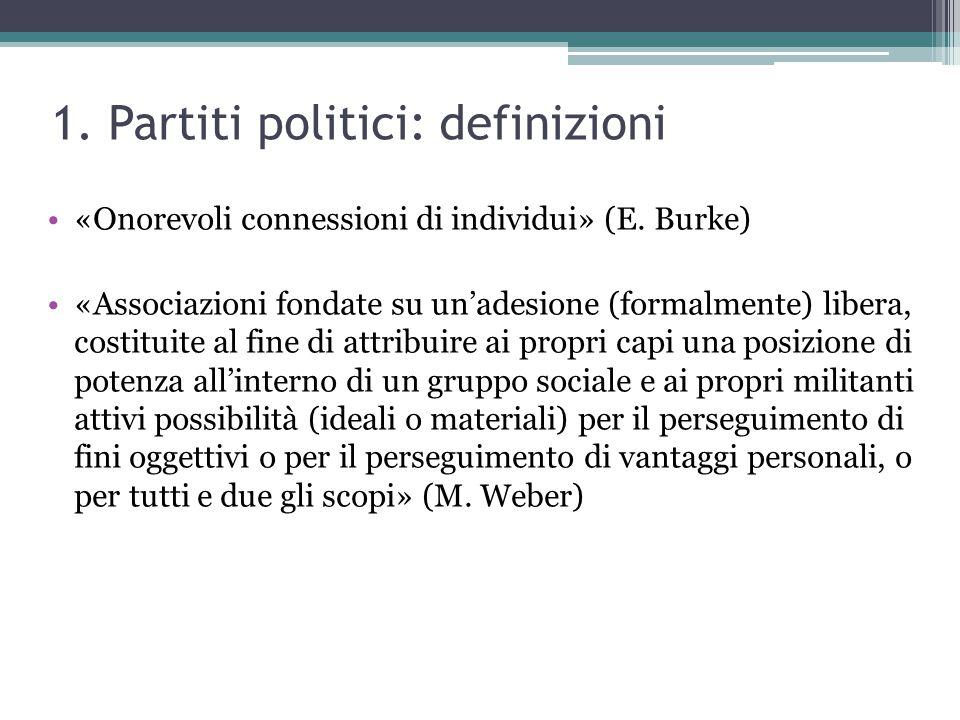 1. Partiti politici: definizioni «Onorevoli connessioni di individui» (E. Burke) «Associazioni fondate su un'adesione (formalmente) libera, costituite
