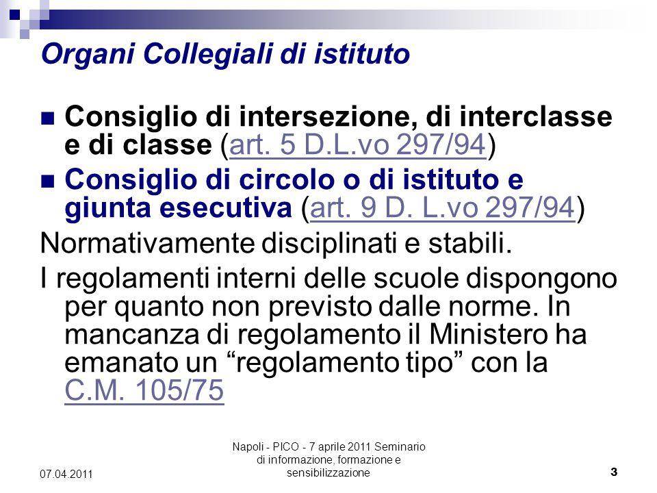 Napoli - PICO - 7 aprile 2011 Seminario di informazione, formazione e sensibilizzazione3 07.04.2011 Organi Collegiali di istituto Consiglio di intersezione, di interclasse e di classe (art.