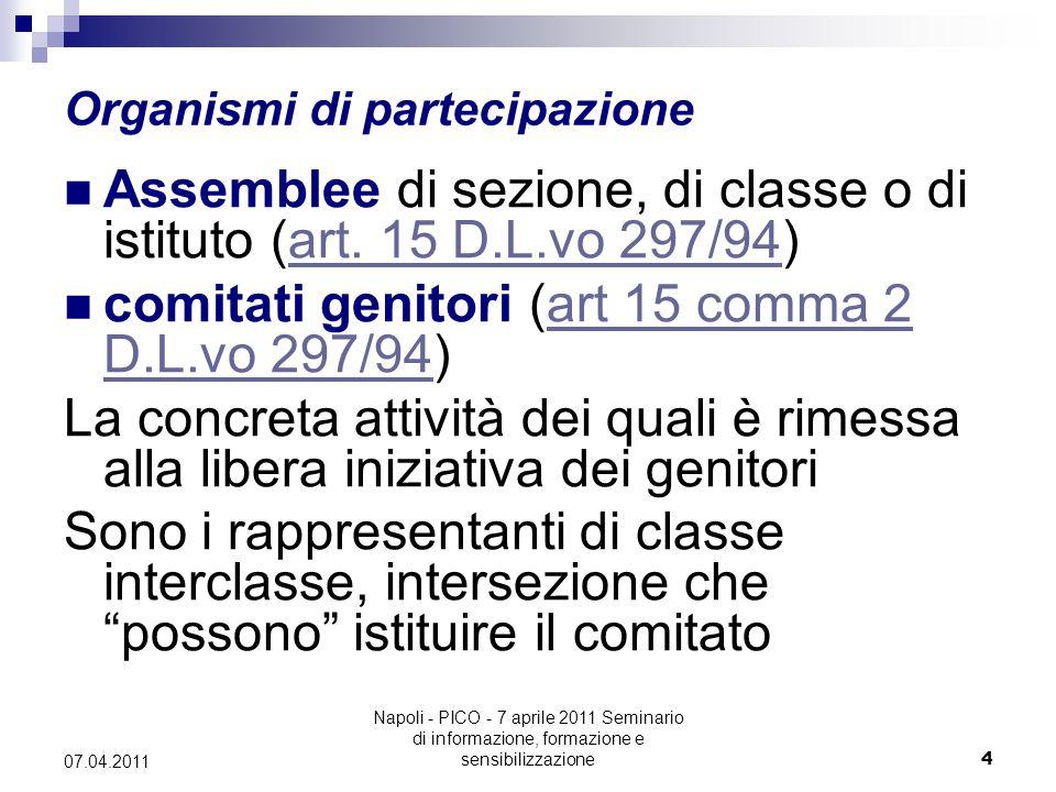 Napoli - PICO - 7 aprile 2011 Seminario di informazione, formazione e sensibilizzazione4 07.04.2011 Organismi di partecipazione Assemblee di sezione, di classe o di istituto (art.