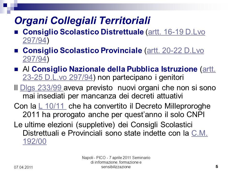 Napoli - PICO - 7 aprile 2011 Seminario di informazione, formazione e sensibilizzazione5 07.04.2011 Organi Collegiali Territoriali Consiglio Scolastico Distrettuale (artt.