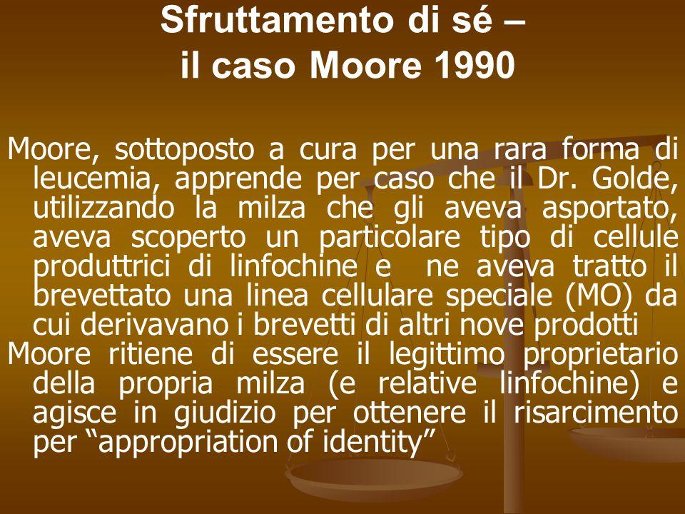 Sfruttamento di sé – il caso Moore 1990 Moore, sottoposto a cura per una rara forma di leucemia, apprende per caso che il Dr.