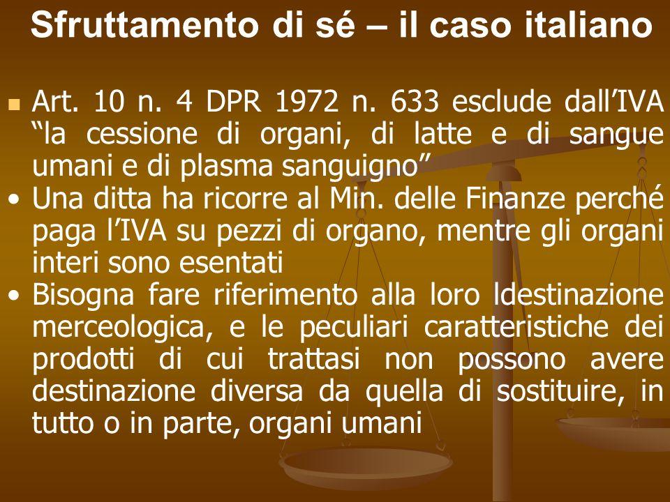 Sfruttamento di sé – il caso italiano Art. 10 n. 4 DPR 1972 n.