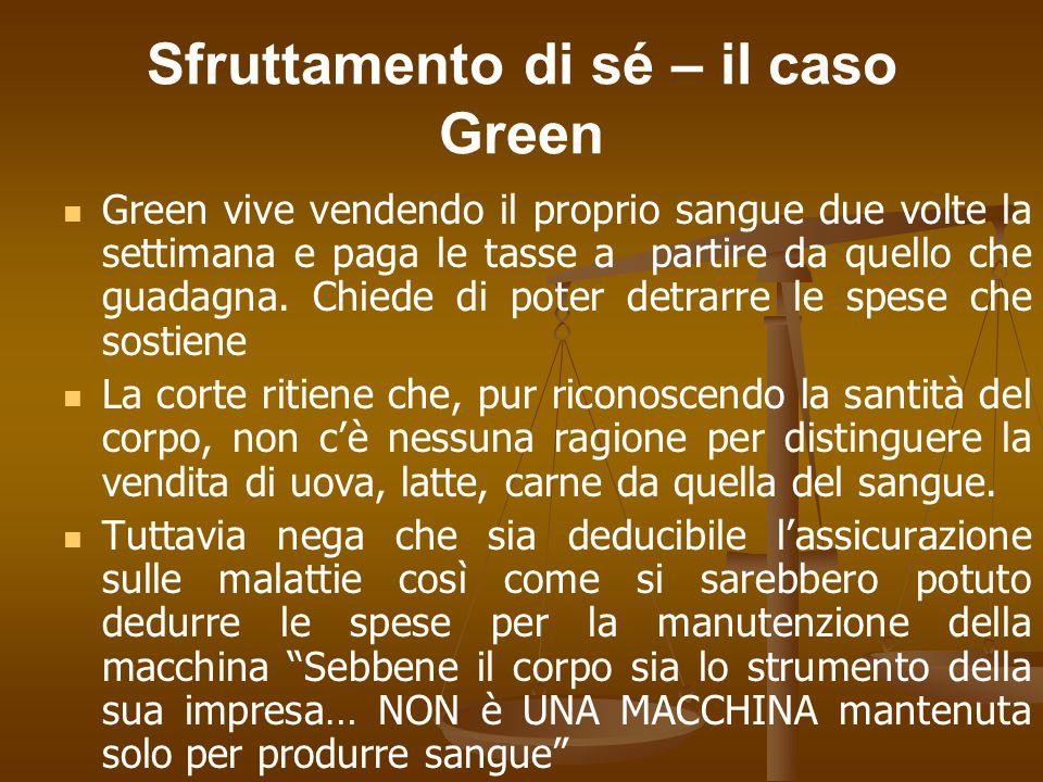 Sfruttamento di sé – il caso Green Green vive vendendo il proprio sangue due volte la settimana e paga le tasse a partire da quello che guadagna.