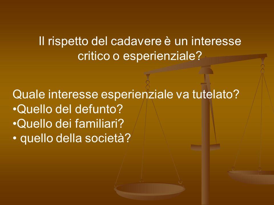 Il rispetto del cadavere è un interesse critico o esperienziale.