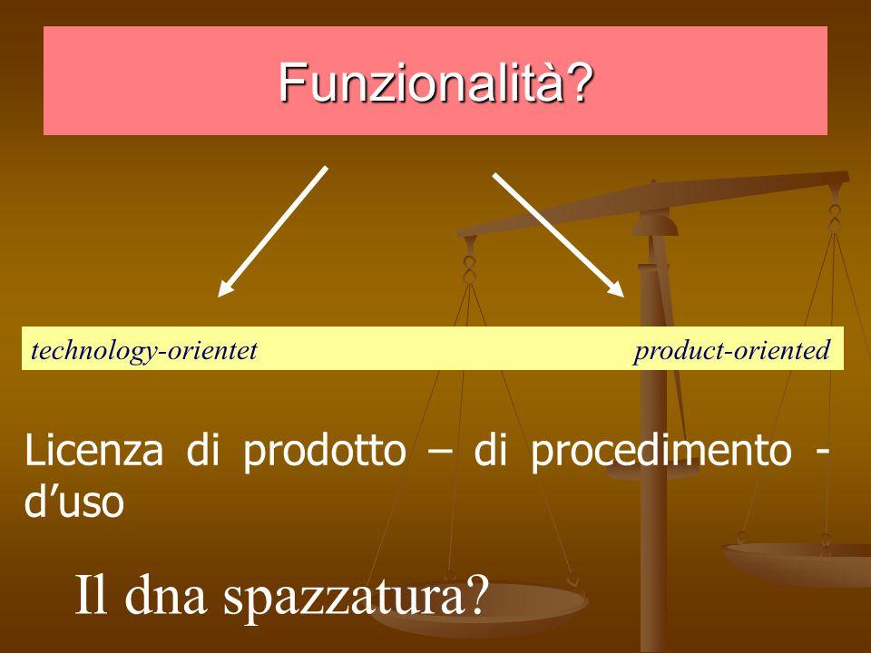 Funzionalità. technology-orientet product-oriented Il dna spazzatura.