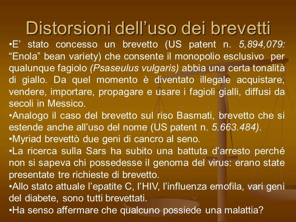 Distorsioni dell'uso dei brevetti E' stato concesso un brevetto (US patent n.