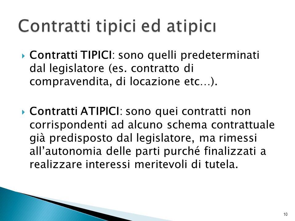 Contratti TIPICI: sono quelli predeterminati dal legislatore (es. contratto di compravendita, di locazione etc…).  Contratti ATIPICI: sono quei con