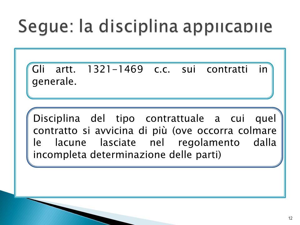 12 Gli artt. 1321-1469 c.c. sui contratti in generale. Disciplina del tipo contrattuale a cui quel contratto si avvicina di più (ove occorra colmare l