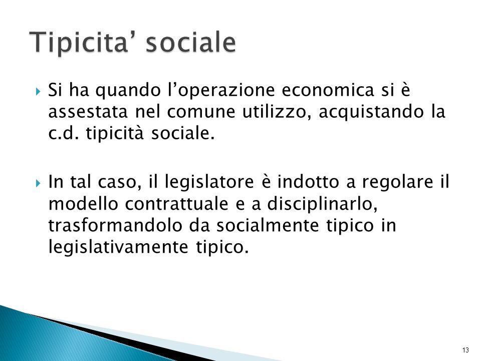  Si ha quando l'operazione economica si è assestata nel comune utilizzo, acquistando la c.d. tipicità sociale.  In tal caso, il legislatore è indott