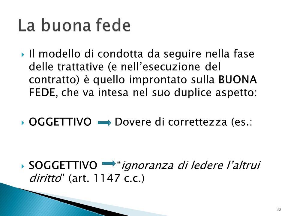  Il modello di condotta da seguire nella fase delle trattative (e nell'esecuzione del contratto) è quello improntato sulla BUONA FEDE, che va intesa