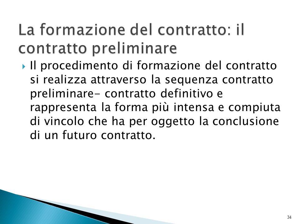  Il procedimento di formazione del contratto si realizza attraverso la sequenza contratto preliminare- contratto definitivo e rappresenta la forma pi
