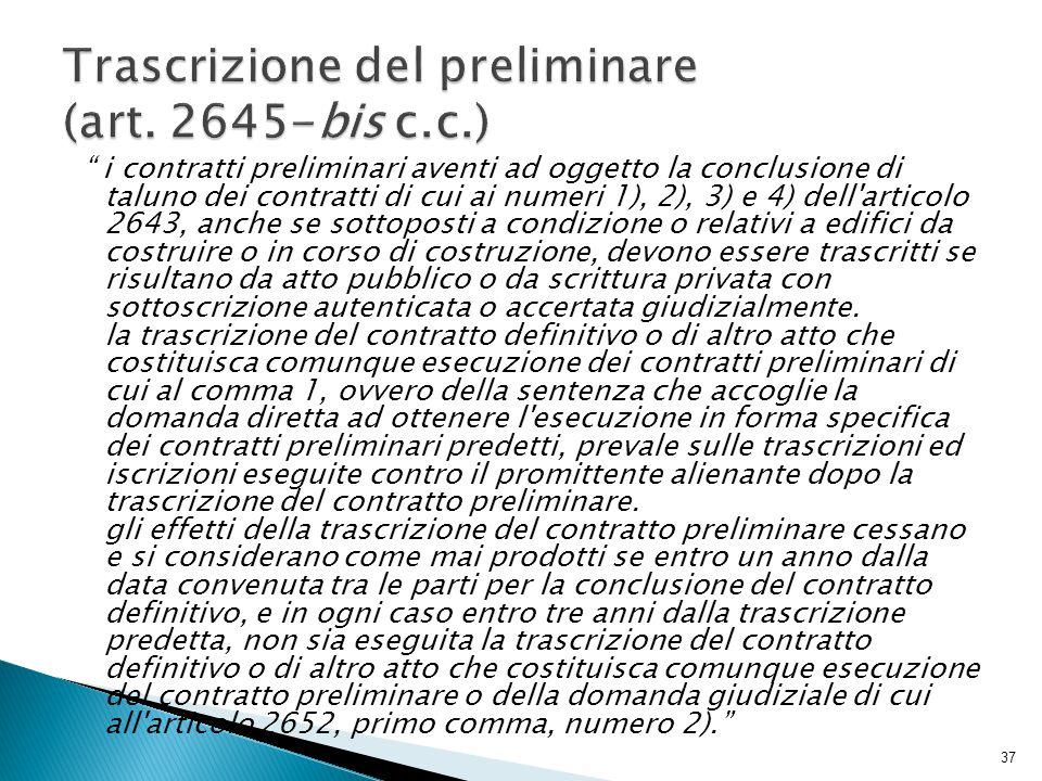 """"""" i contratti preliminari aventi ad oggetto la conclusione di taluno dei contratti di cui ai numeri 1), 2), 3) e 4) dell'articolo 2643, anche se sotto"""