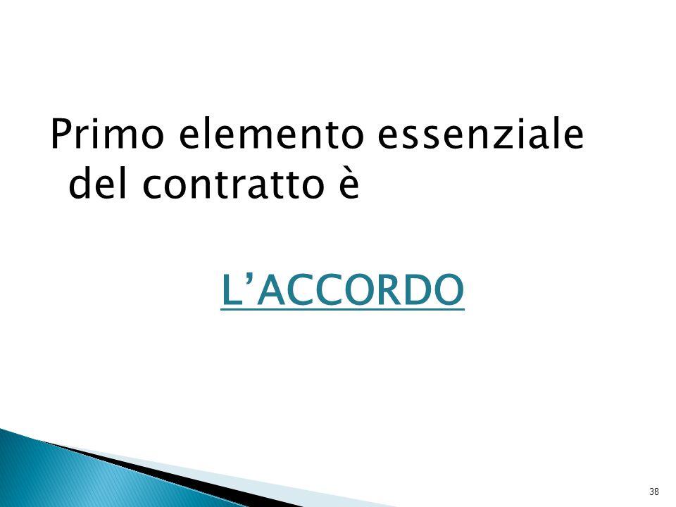Primo elemento essenziale del contratto è L'ACCORDO 38