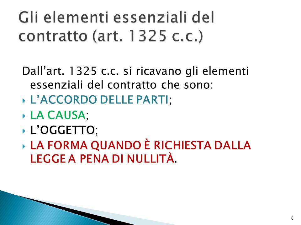 Dall'art. 1325 c.c. si ricavano gli elementi essenziali del contratto che sono:  L'ACCORDO DELLE PARTI;  LA CAUSA;  L'OGGETTO;  LA FORMA QUANDO È