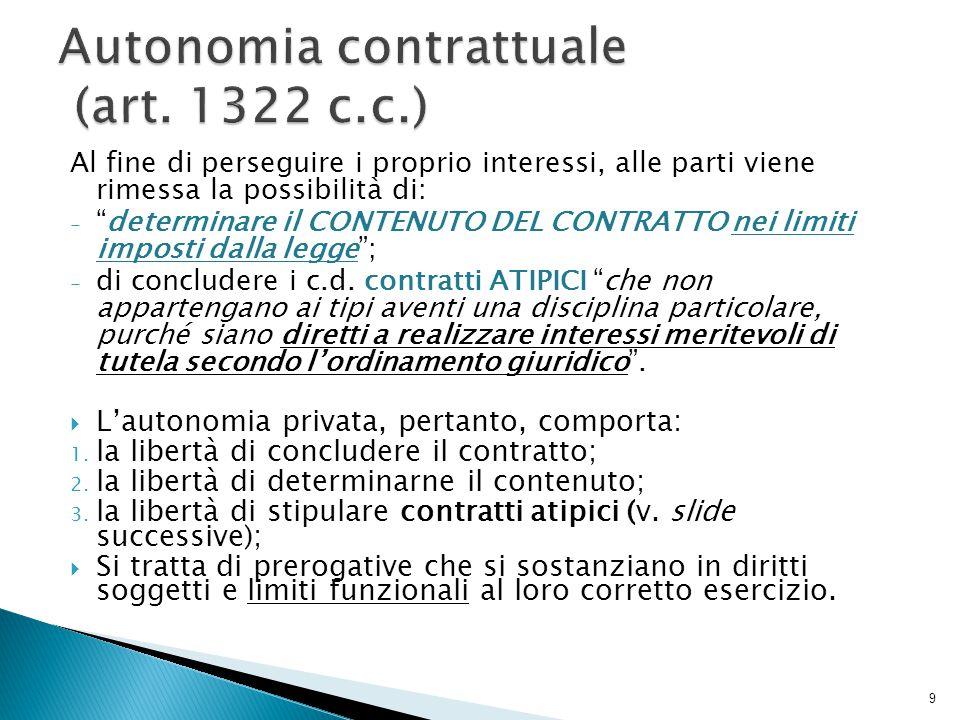 Contratti TIPICI: sono quelli predeterminati dal legislatore (es.