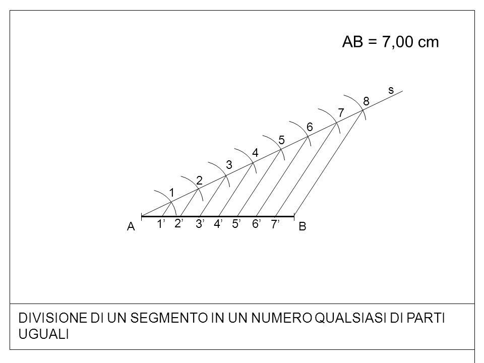 DIVISIONE DI UN SEGMENTO IN UN NUMERO QUALSIASI DI PARTI UGUALI AB = 7,00 cm BA s 1 2 3 4 5 6 7 8 7'7' 6'6' 5'5'4'4' 3'3' 2'2' 1'1'