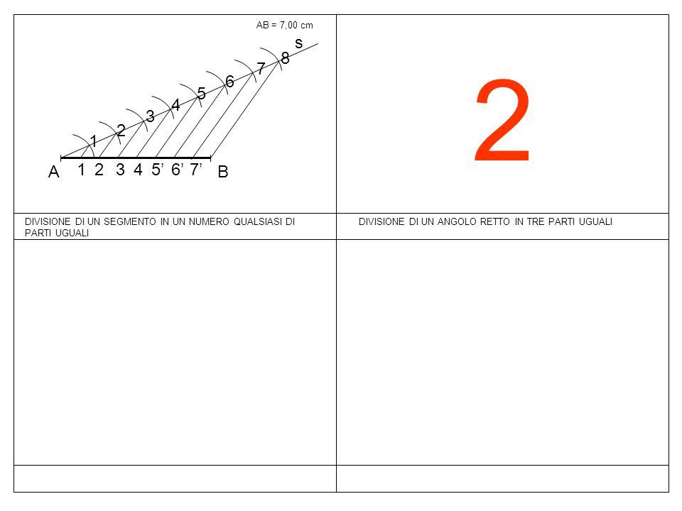 2 DIVISIONE DI UN ANGOLO RETTO IN TRE PARTI UGUALI AB = 7,00 cm s BA 1 2 3 4 5 6 7 8 7'7' 6'6' 5'5'4 3 2 1 DIVISIONE DI UN SEGMENTO IN UN NUMERO QUALS