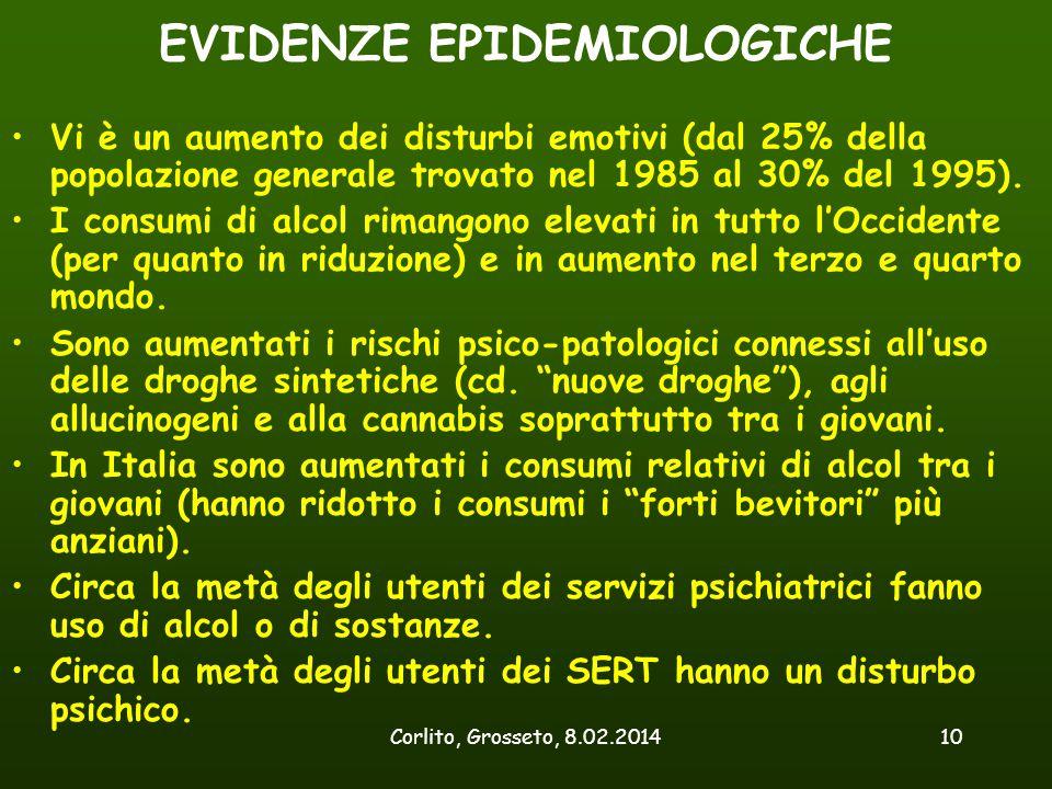 Corlito, Grosseto, 8.02.201410 EVIDENZE EPIDEMIOLOGICHE Vi è un aumento dei disturbi emotivi (dal 25% della popolazione generale trovato nel 1985 al 3