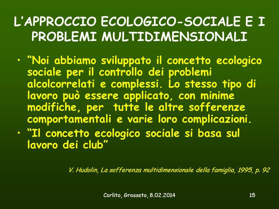 """Corlito, Grosseto, 8.02.201415 L'APPROCCIO ECOLOGICO-SOCIALE E I PROBLEMI MULTIDIMENSIONALI """"Noi abbiamo sviluppato il concetto ecologico sociale per"""