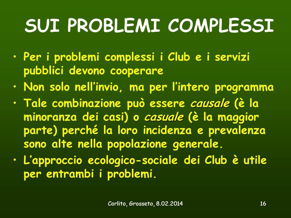Corlito, Grosseto, 8.02.201416 SUI PROBLEMI COMPLESSI Per i problemi complessi i Club e i servizi pubblici devono cooperare Non solo nell'invio, ma pe