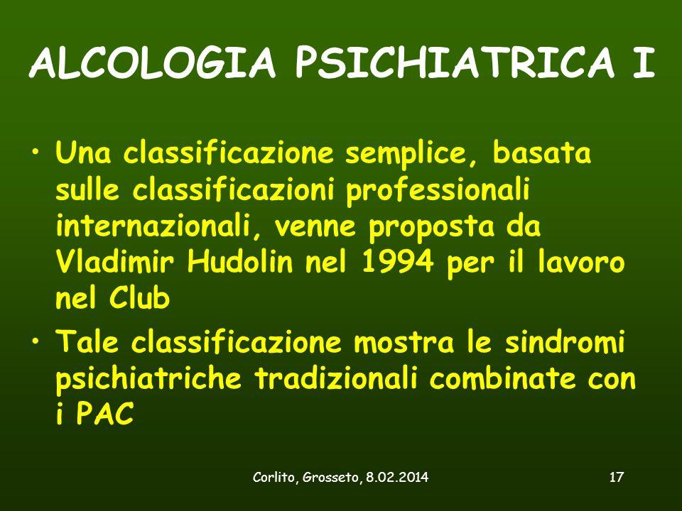 Corlito, Grosseto, 8.02.201417 ALCOLOGIA PSICHIATRICA I Una classificazione semplice, basata sulle classificazioni professionali internazionali, venne