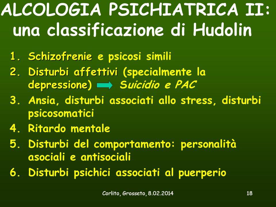 Corlito, Grosseto, 8.02.201418 ALCOLOGIA PSICHIATRICA II: una classificazione di Hudolin 1.Schizofrenie 1.Schizofrenie e psicosi simili 2.Disturbi aff
