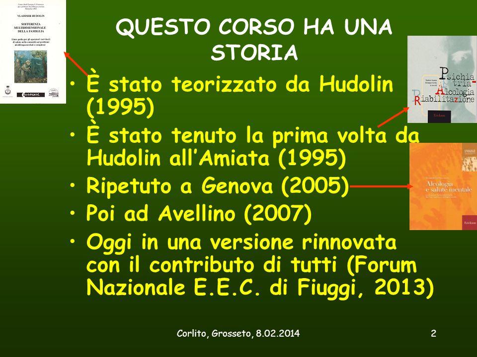 Corlito, Grosseto, 8.02.20142 QUESTO CORSO HA UNA STORIA È stato teorizzato da Hudolin (1995) È stato tenuto la prima volta da Hudolin all'Amiata (199
