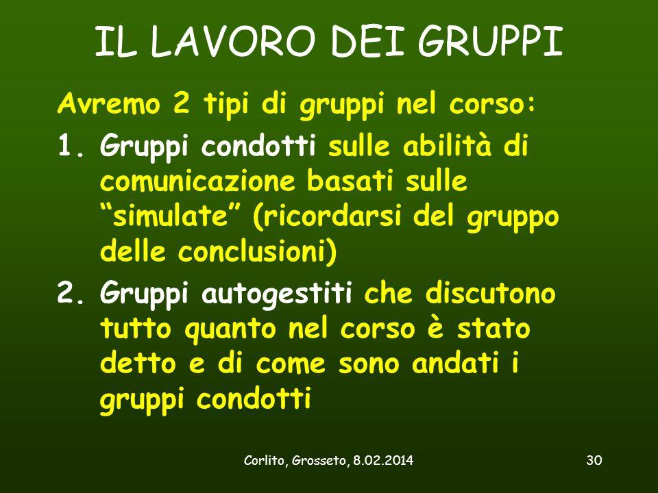 """Corlito, Grosseto, 8.02.201430 IL LAVORO DEI GRUPPI Avremo 2 tipi di gruppi nel corso: 1.Gruppi condotti sulle abilità di comunicazione basati sulle """""""