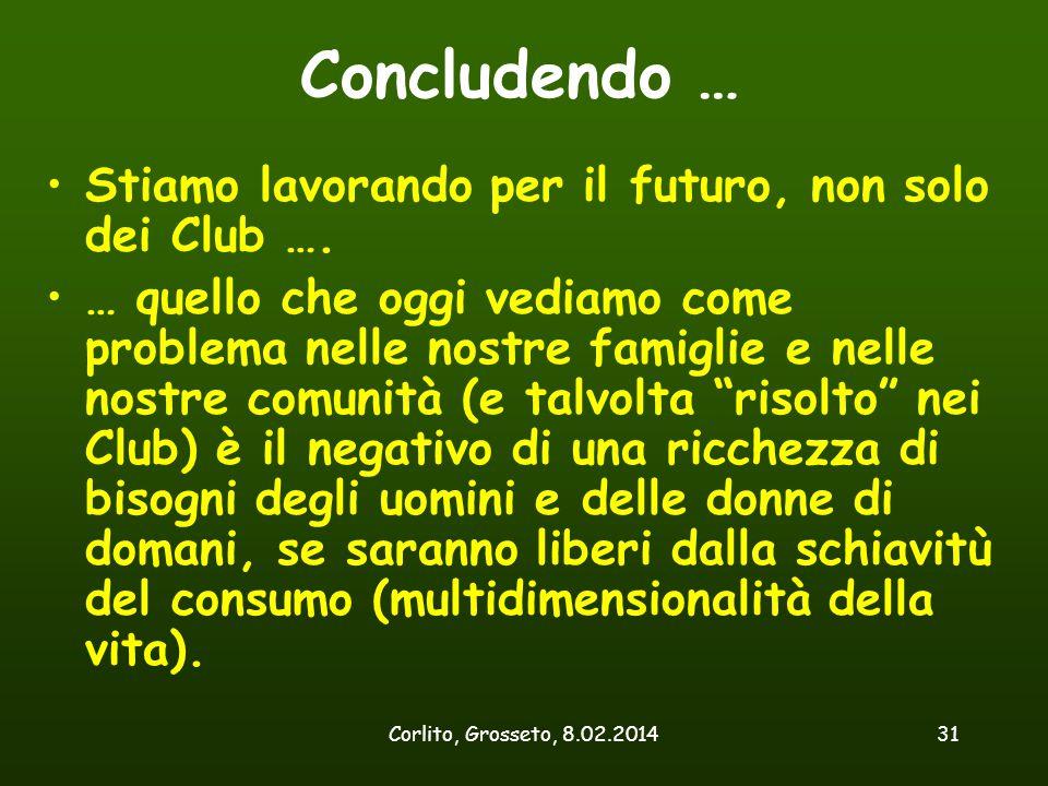 Corlito, Grosseto, 8.02.201431 Concludendo … Stiamo lavorando per il futuro, non solo dei Club …. … quello che oggi vediamo come problema nelle nostre