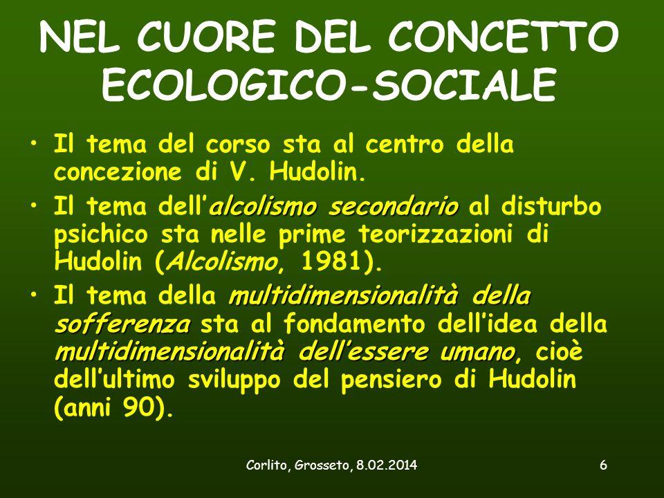 Corlito, Grosseto, 8.02.20146 NEL CUORE DEL CONCETTO ECOLOGICO-SOCIALE Il tema del corso sta al centro della concezione di V. Hudolin. alcolismo secon