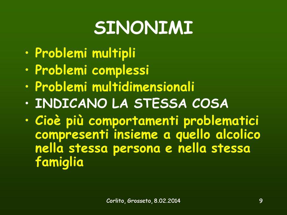 Corlito, Grosseto, 8.02.20149 SINONIMI Problemi multipli Problemi complessi Problemi multidimensionali INDICANO LA STESSA COSA Cioè più comportamenti