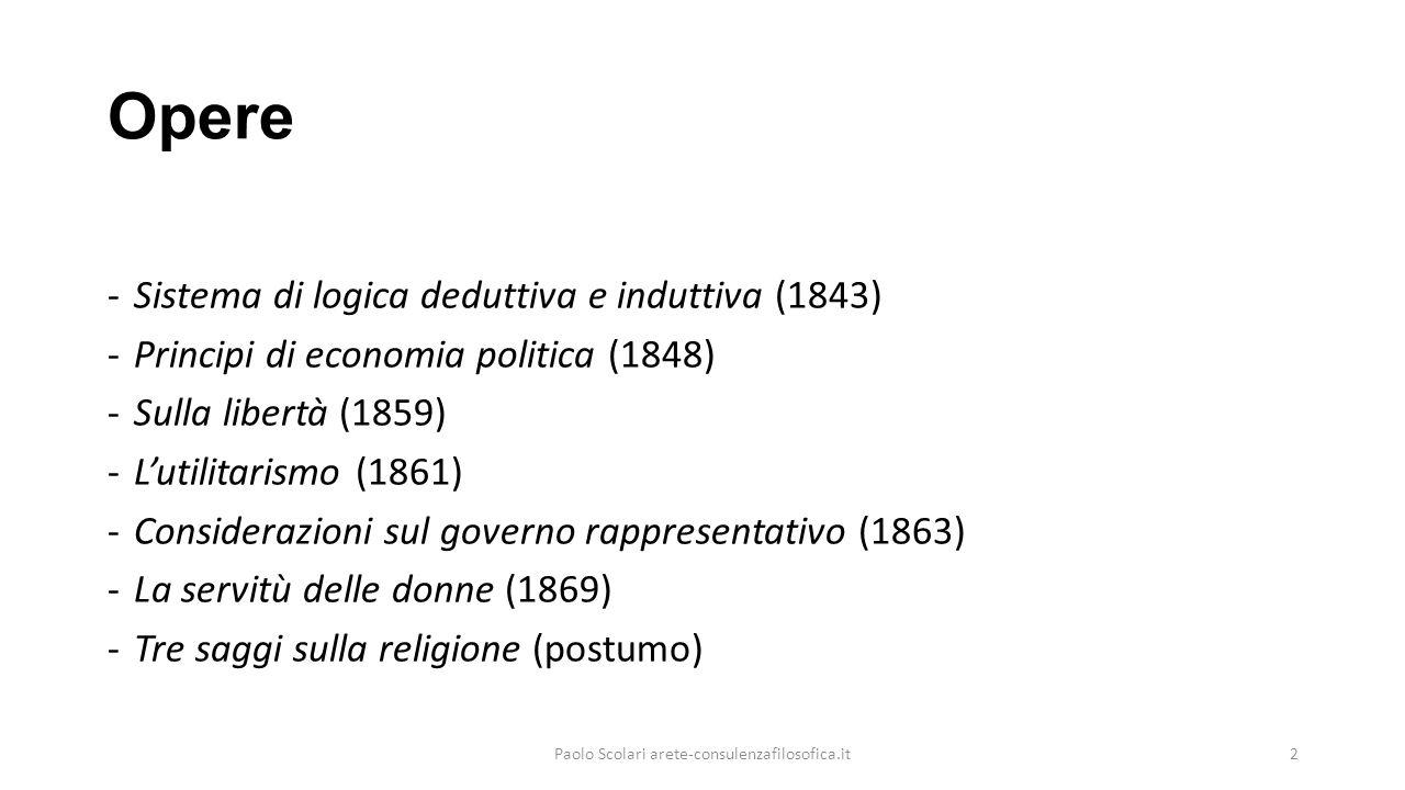 Opere -Sistema di logica deduttiva e induttiva (1843) -Principi di economia politica (1848) -Sulla libertà (1859) -L'utilitarismo (1861) -Considerazio