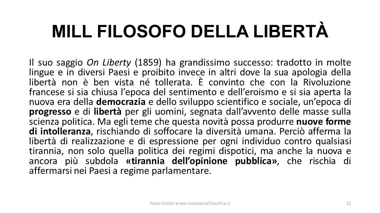 MILL FILOSOFO DELLA LIBERTÀ Il suo saggio On Liberty (1859) ha grandissimo successo: tradotto in molte lingue e in diversi Paesi e proibito invece in