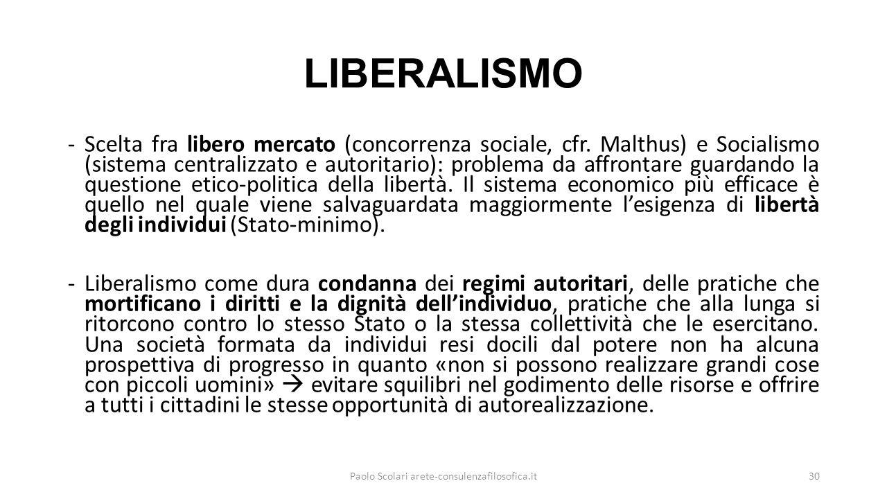 LIBERALISMO -Scelta fra libero mercato (concorrenza sociale, cfr. Malthus) e Socialismo (sistema centralizzato e autoritario): problema da affrontare