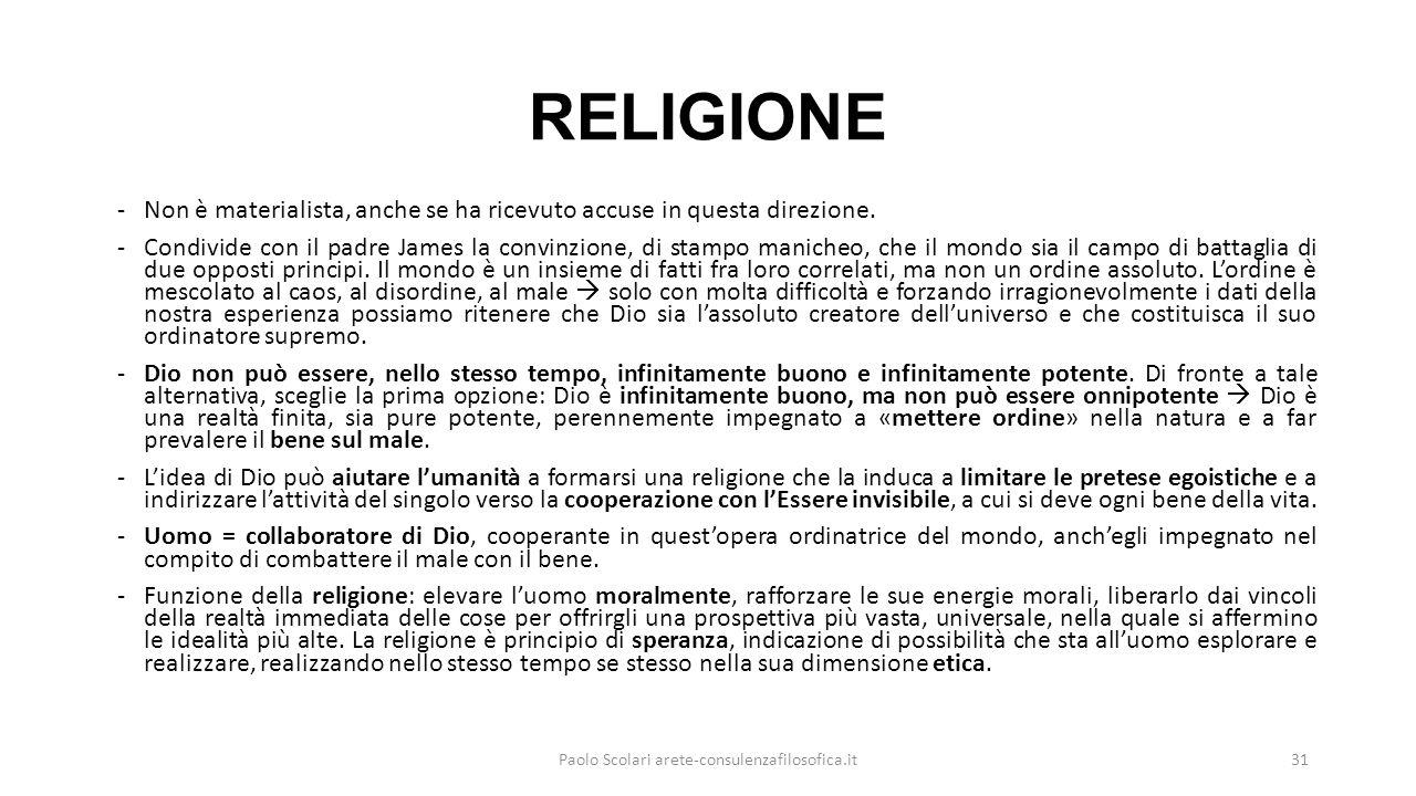RELIGIONE -Non è materialista, anche se ha ricevuto accuse in questa direzione. -Condivide con il padre James la convinzione, di stampo manicheo, che