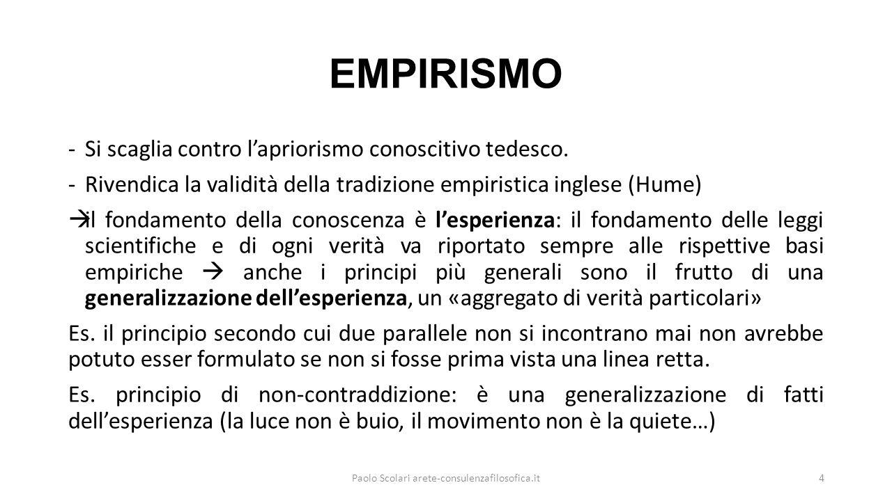 CONSEGUENZE DELL'EMPIRISMO -Sulla base dell'empirismo fa piazza pulita di tutte le grandi questioni metafisiche, che cadono fuori del dominio della logica, perché intorno a esse non è possibile alcuna prova e conferma empirica, né è possibile fornire un fondamento non empirico alle verità e ai principi universali.