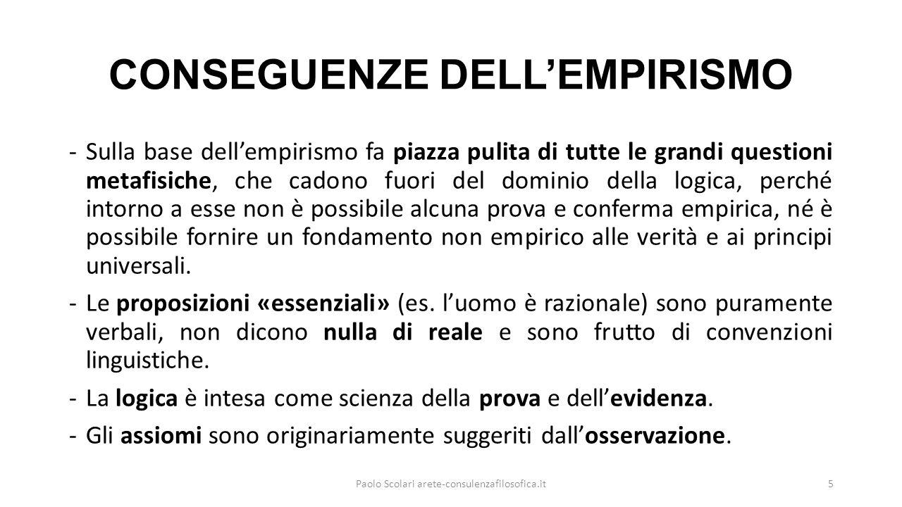 CONSEGUENZE DELL'EMPIRISMO -Sulla base dell'empirismo fa piazza pulita di tutte le grandi questioni metafisiche, che cadono fuori del dominio della lo