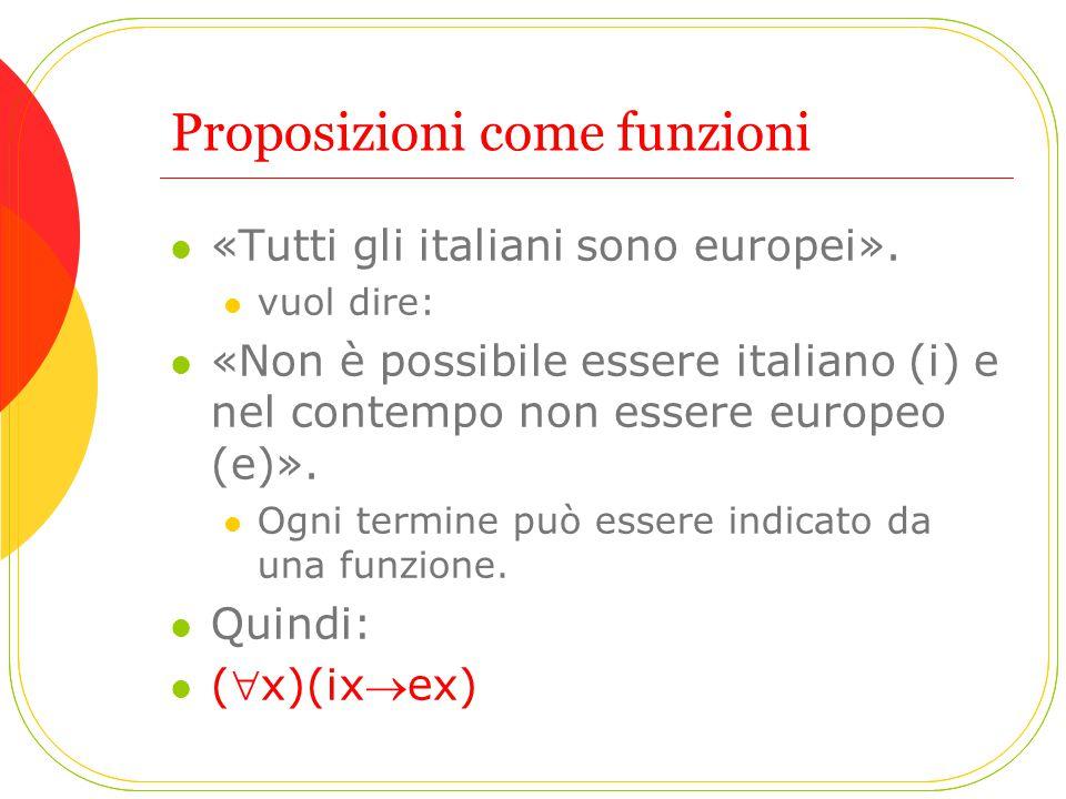 Proposizioni come funzioni «Tutti gli italiani sono europei». vuol dire: «Non è possibile essere italiano (i) e nel contempo non essere europeo (e)».