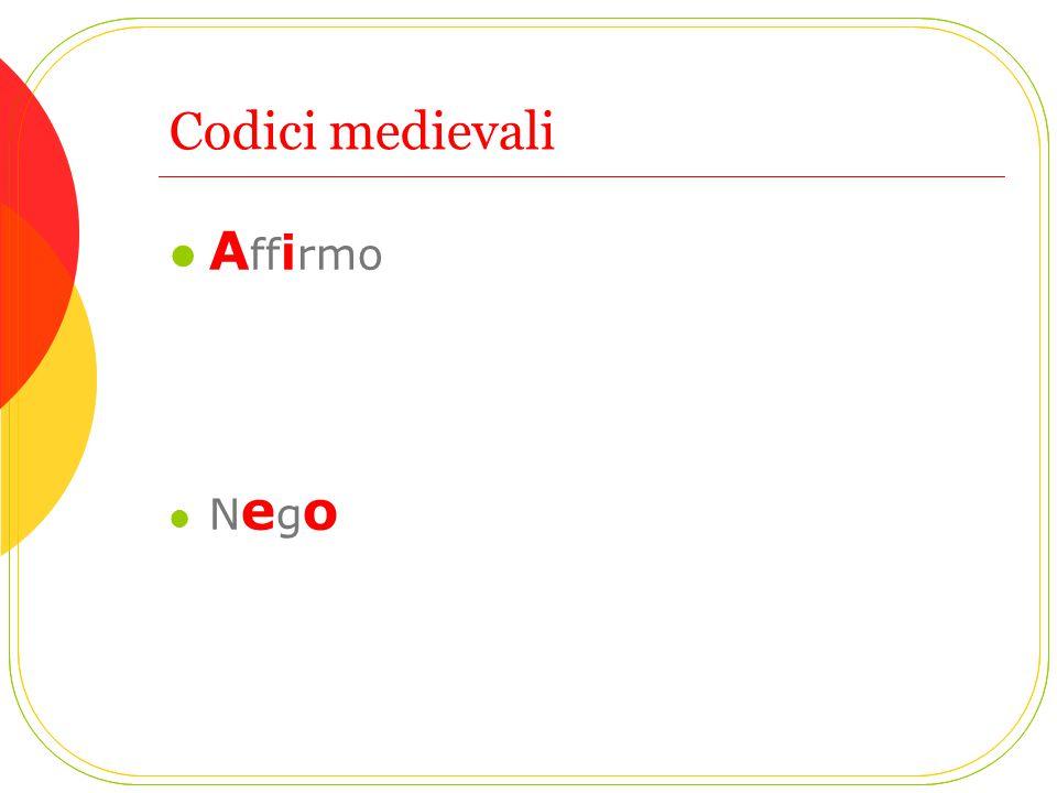 Codici medievali A ff i rmo N e g o