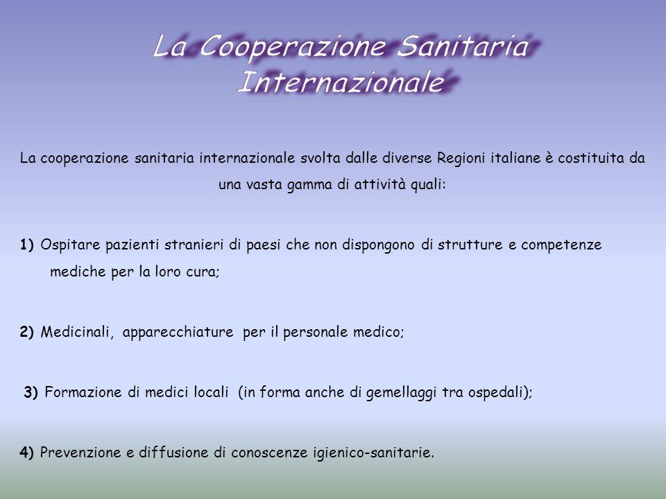 La cooperazione sanitaria internazionale svolta dalle diverse Regioni italiane è costituita da una vasta gamma di attività quali: 1) Ospitare pazienti