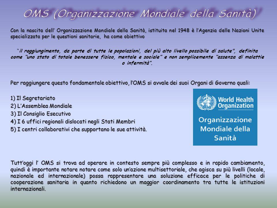 Con la nascita dell' Organizzazione Mondiale della Sanità, istituita nel 1948 è l'Agenzia delle Nazioni Unite specializzata per le questioni sanitarie