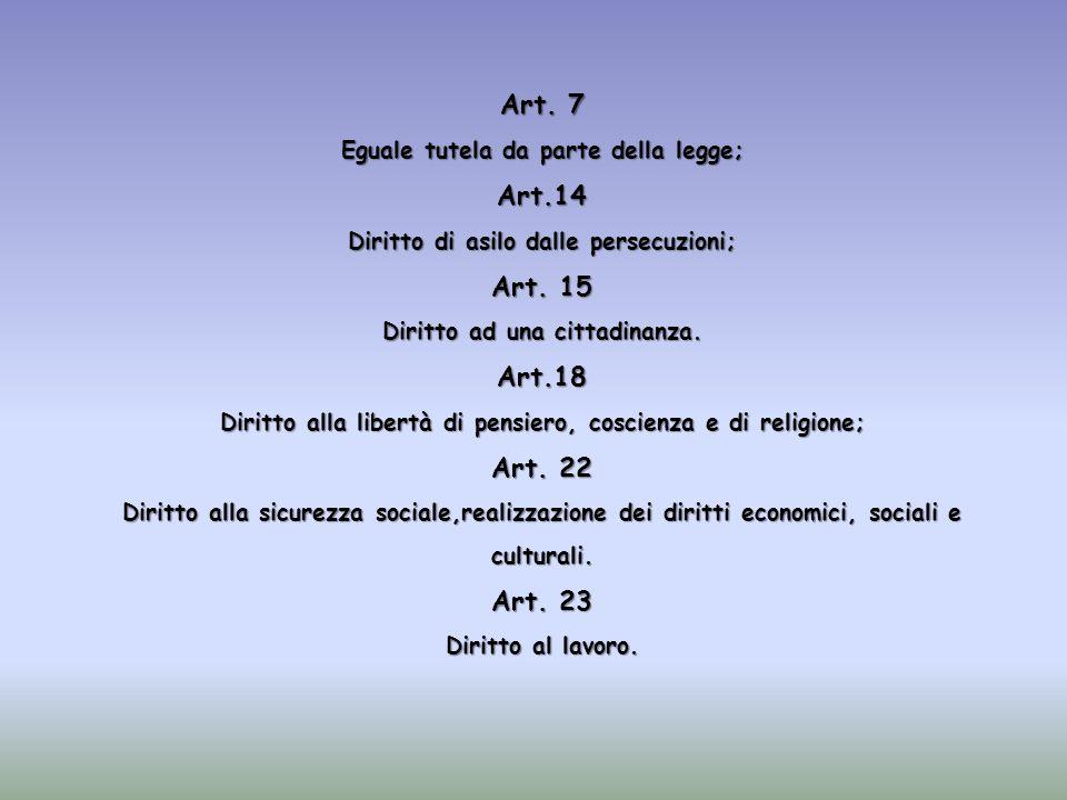 Art. 7 Eguale tutela da parte della legge; Art.14 Diritto di asilo dalle persecuzioni; Art. 15 Diritto ad una cittadinanza. Art.18 Diritto alla libert