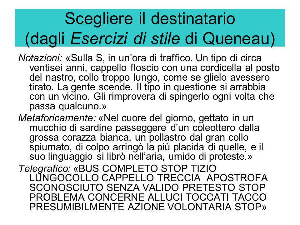 Scegliere il destinatario (dagli Esercizi di stile di Queneau) Notazioni: «Sulla S, in un'ora di traffico. Un tipo di circa ventisei anni, cappello fl