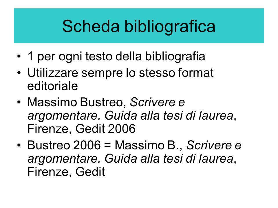 Scheda bibliografica 1 per ogni testo della bibliografia Utilizzare sempre lo stesso format editoriale Massimo Bustreo, Scrivere e argomentare. Guida