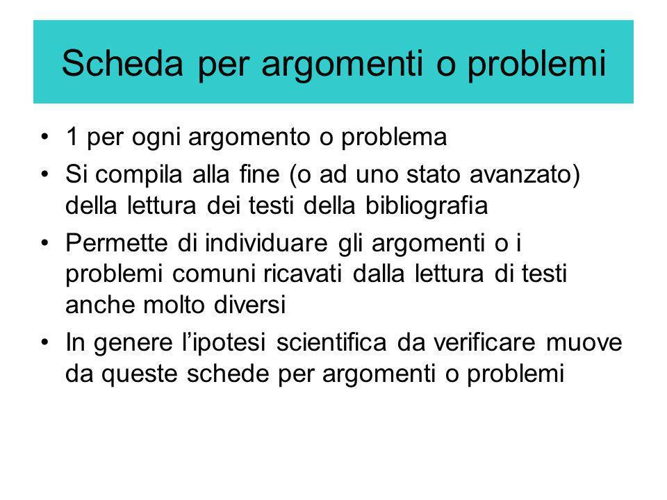 Scheda per argomenti o problemi 1 per ogni argomento o problema Si compila alla fine (o ad uno stato avanzato) della lettura dei testi della bibliogra