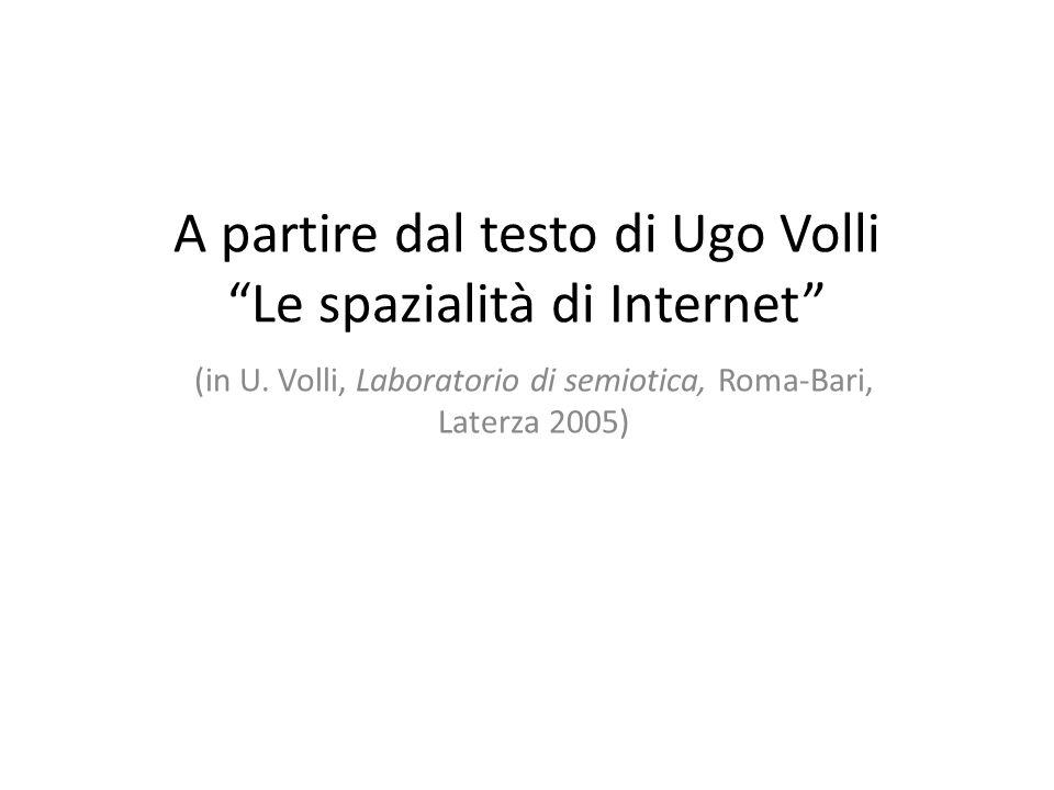 """A partire dal testo di Ugo Volli """"Le spazialità di Internet"""" (in U. Volli, Laboratorio di semiotica, Roma-Bari, Laterza 2005)"""