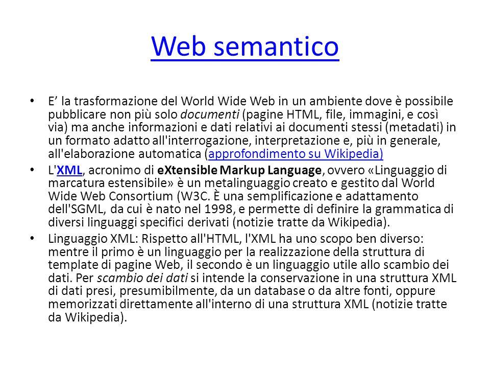 Web semantico E' la trasformazione del World Wide Web in un ambiente dove è possibile pubblicare non più solo documenti (pagine HTML, file, immagini,