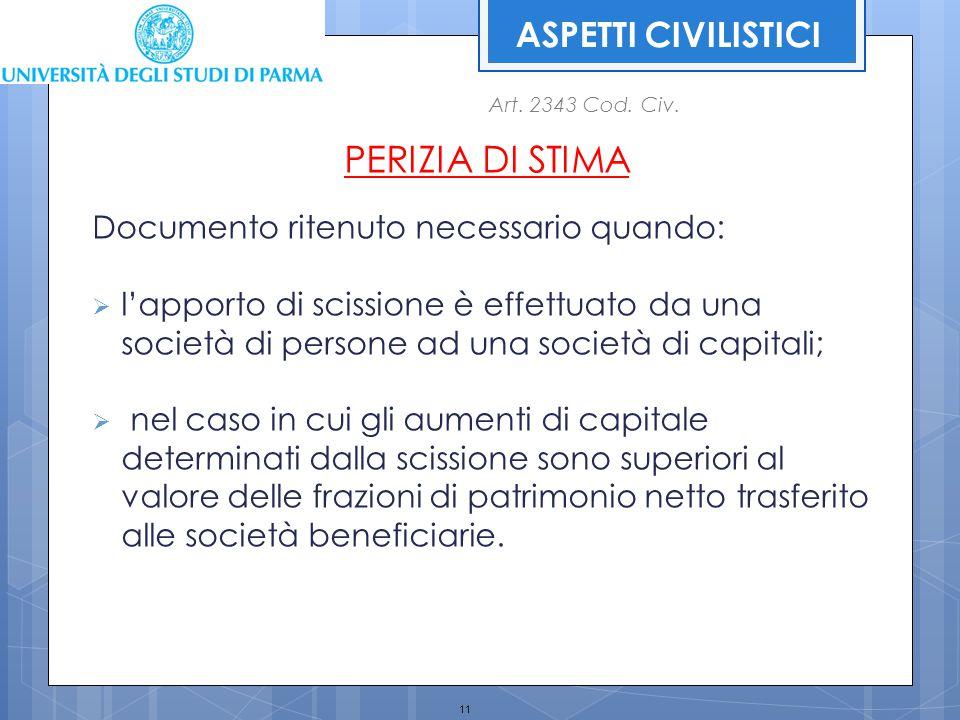 11 PERIZIA DI STIMA Documento ritenuto necessario quando:  l'apporto di scissione è effettuato da una società di persone ad una società di capitali;