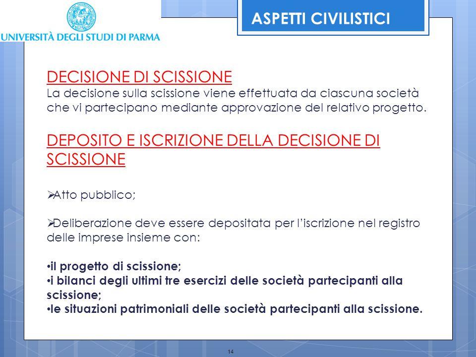 14 DECISIONE DI SCISSIONE La decisione sulla scissione viene effettuata da ciascuna società che vi partecipano mediante approvazione del relativo prog